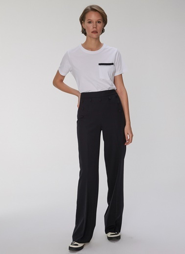 People By Fabrika Düğme Detaylı Pantolon Siyah
